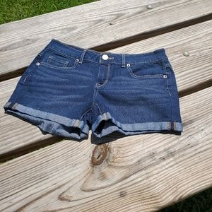Aeropostale Midi Dark Wash Denim Cuffed Shorts